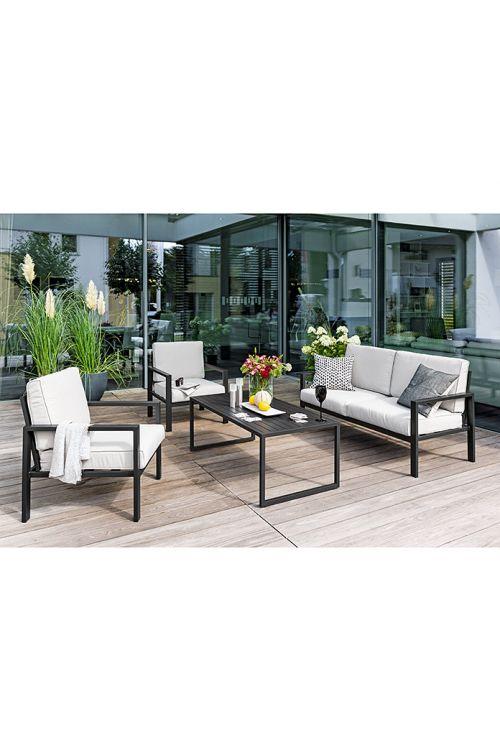 Lounge vrtna garnitura SUNFUN Judith (dvosed d 141 x š 69 x v 70 cm, 2 x stol d 65 x š 69 x v 70 cm, mizica d 154 x š 69,5 x v 44 cm, prašno barvano aluminijasto ogrodje, z blazinami)