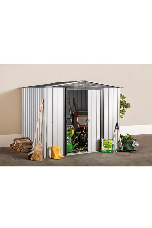 Kovinska uta za orodje (247 x 307 x 203 cm, srebrna/antracitno siva, vrsta strehe: dvokapna streha)