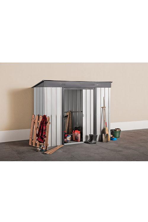 Kovinska uta za orodje (124 x 246 x 198 cm, srebrna/antracitno siva, vrsta strehe: enokapna streha)