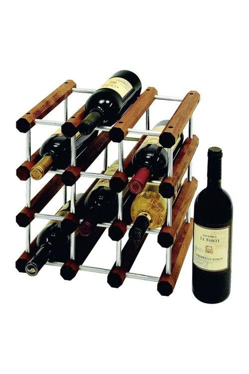 Regal za steklenice (v 34 x š 34 x g 28 cm, do 12 steklenic, les, aluminij)