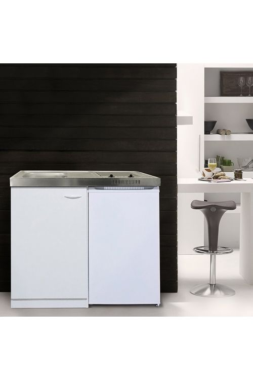 Mini kuhinja Respekta Pantry 100 (100 cm, steklokeramična plošča in hladilnik, bela)