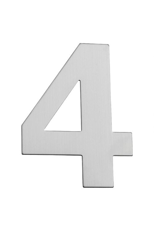 Hišna številka 4 Portaferm (višina: 15 cm, legirano jeklo, motiv: 4)