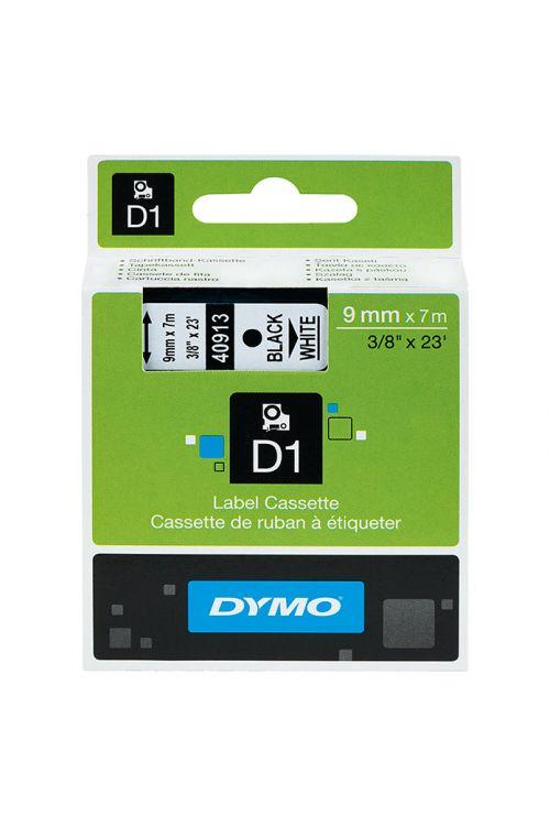 Trak za označevanje D1, Dymo (7 m x 9 mm, barva tiska: črna, barva traku: bela, umetna masa)