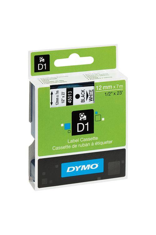 Trak za označevanje D1, Dymo (7 m x 12 mm, barva tiska: črna, barva traku: bela, umetna masa)