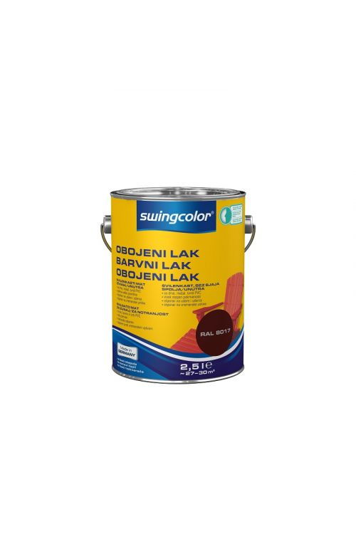 Barvni lak SWINGCOLOR (svilenkasto mat; barva: čokolada; 2,5 l)