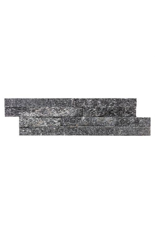 Stenska obloga Quarzit (10 x 40 cm, črna, naravni kamen)