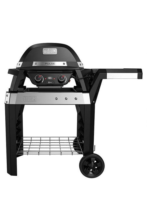 Električni žar  z vozičkom WEBER Pulse 2000 (2,2 kW, rešetka 49 x 39 cm, voziček za žar, pokrov in ohišje iz litega aluminija, posodica za maščobo, iGrill tehnologija, v 76 x š 112 x d 146 cm, črne barve)