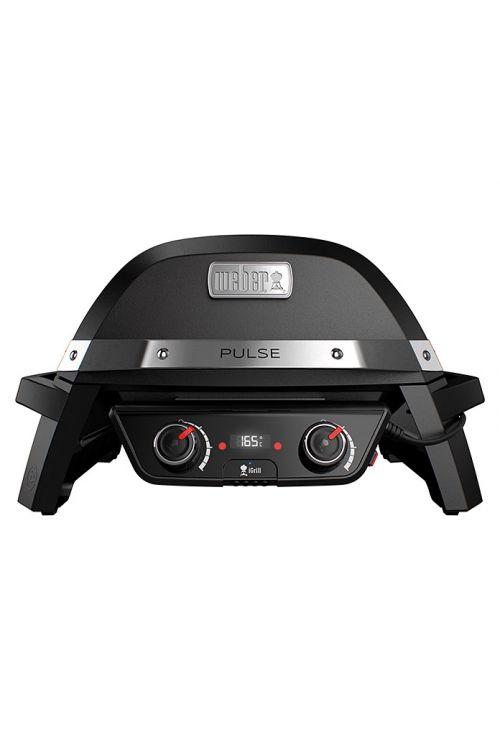 Električni žar WEBER Pulse 2000 (2,2 kW, rešetka 49 x 39 cm, pokrov in ohišje iz litega aluminija, posodica za maščobo, iGrill tehnologija, v 76 x š 71 x d 77 cm, črne barve)