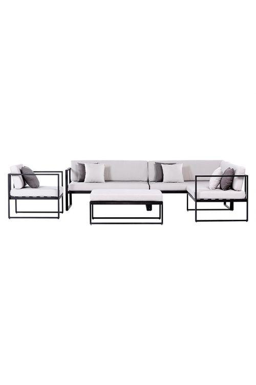 Lounge vrtna garnitura SENSUM SKEPPARHOLMEN (2 x dvosed d 134 x š 66 x v 75 cm, naslonjač d 73 x š 66 x v 75 cm, miza d 100 x š 60 x v 32 cm, prašno barvano jekleno ogrodje črne barve, z blazinami)