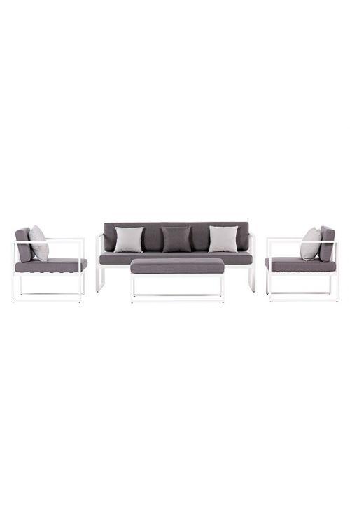 Lounge vrtna garnitura SENSUM SKEPPARHOLMEN (trosed d 187 x š 75 x v 66 cm, 2 x naslonjač d 73 x š 75 x v 66 cm, miza z blazino d 100 x š 60 x v 32 cm, prašno barvano jekleno ogrodje bele barve, z blazinami)