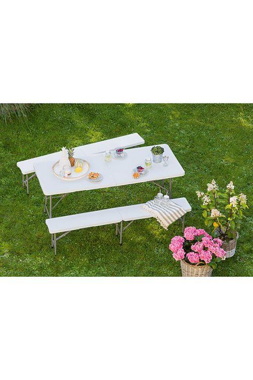 Zložljiva miza (d 180 x š 75 x v 74 cm, kovinsko ogrodje, plastika, bele barve)