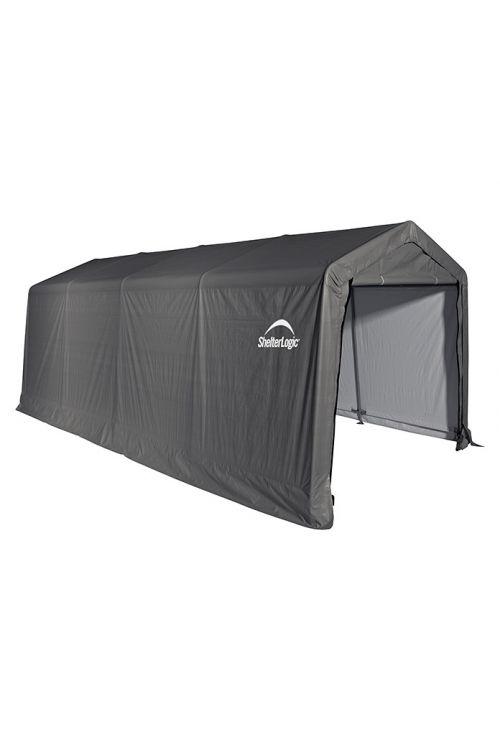 Garažni šotor ShelterLogic (610 x 300 x 240 cm, UV-odporen polieten, talna površina: 18,3 m², siv)
