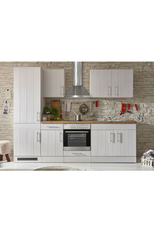 Kuhinjski komplet Respekta Premium BERP (270 cm, z el. napravami, imitacija macesna, bele barve)