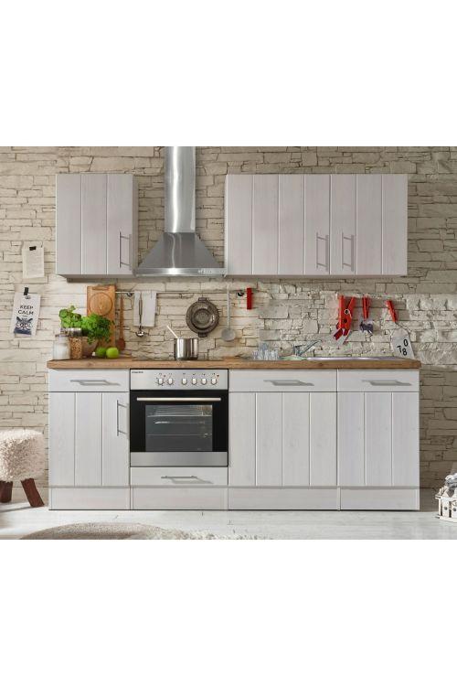 Kuhinjski komplet Respekta Premium BERP (220 cm, z el. napravami, imitacija macesna, bele barve)