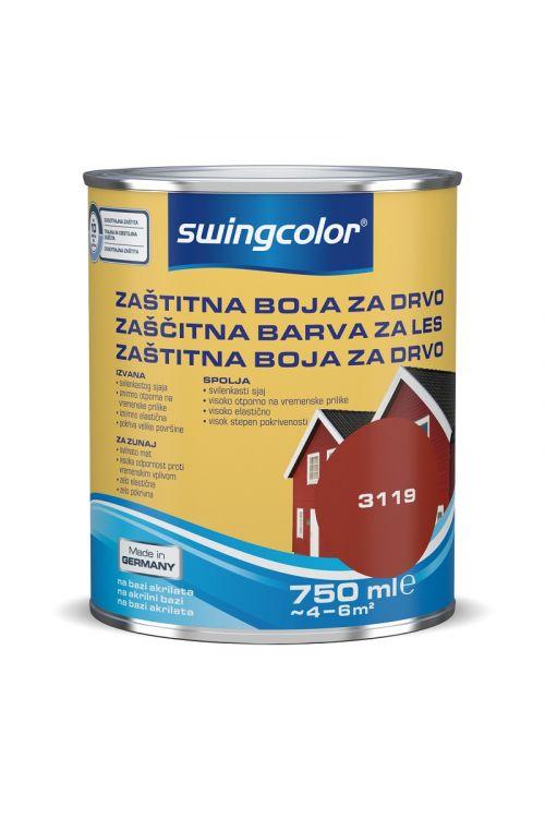 ZAŠČITNA BARVA ZA LES SWINGCOLOR, BORDO RDEČA (750 ml, na vodni osnovi, zelo elastična, pokrivna, visoko odporna proti vremenskim vplivom)