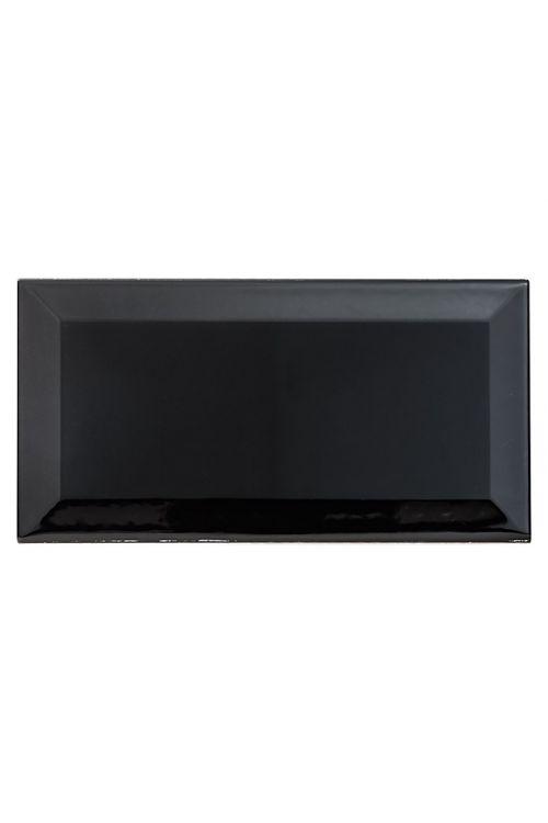 Stenska ploščica Metro (10 x 20 cm, črna, sijaj)