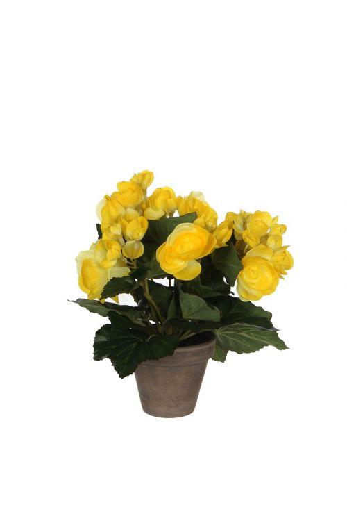 Umetna begonija v loncu (25 cm, rumena)