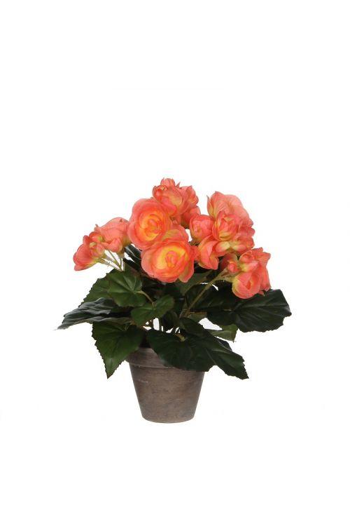 Umetna begonija v loncu (25 cm, roza)