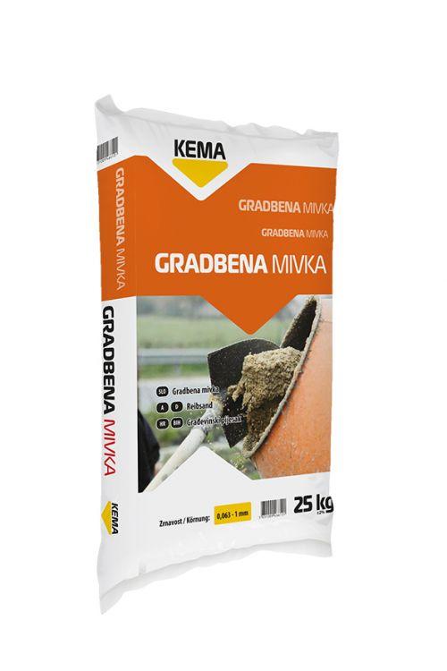 Gradbena mivka KEMA (25 kg, zrnavost: 0,063 – 1 mm)