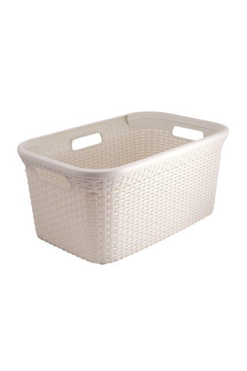 Košara za perilo Ratan (45 l, 60 x 40 x 24 cm, bela)