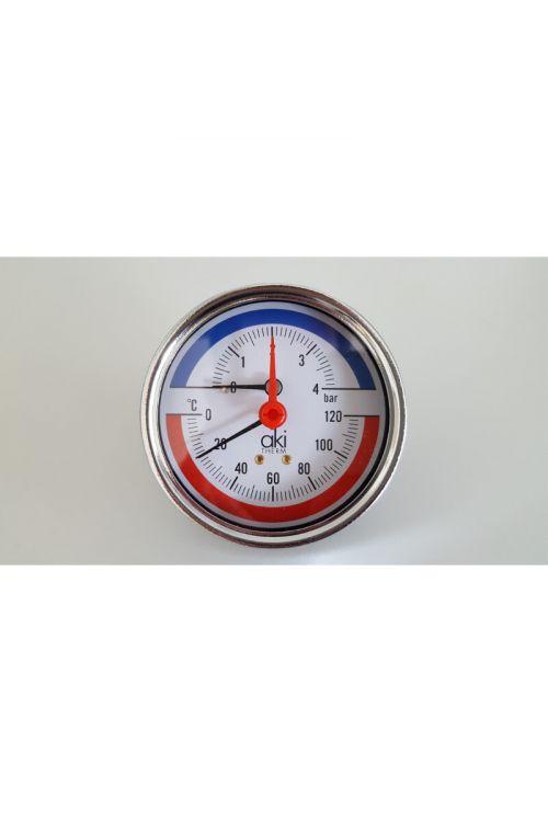 "Termomanometer (Ø 8 cm, 0-4 bar, 0-120 °C, 1/2"")"