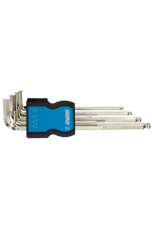 Set dolgih imbus ključev UNIOR za kotno vijačenje (v plastični škatli, 9-delni set)