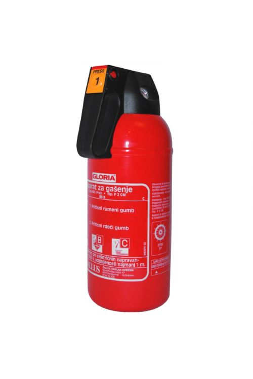 Gasilni aparat na prah GLORIA P 2 GM (2 kg, prah ABC Glutex, standard DIN EN 3)