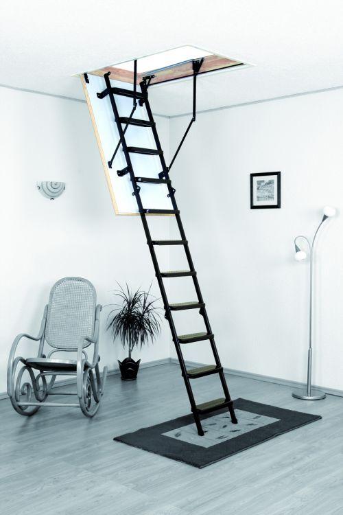 Podstrešne stopnice Meisterholz Metal T3 (1200 x 700 mm, plošča 26 mm, etažna višina do 280 cm, nosilnost 150 kg, 1,3 W/m²K)