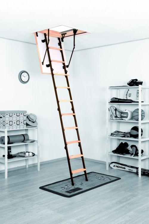 Podstrešne stopnice Meisterholz Mini (800 x 700 mm, plošča 26 mm, etažna višina do 265 cm, nosilnost 150 kg)
