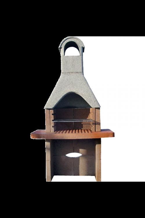 Betonski mini kamin z nikljano rešetko (velikost kurišča: 50 x 30 cm, velikost delovne plošče: 88 x 55 cm)