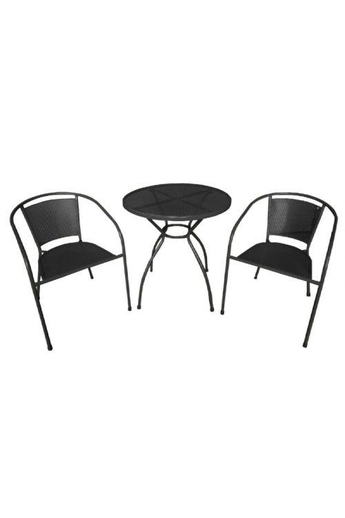 Bistro 3-delni set (miza in 2 stola, črna barva)