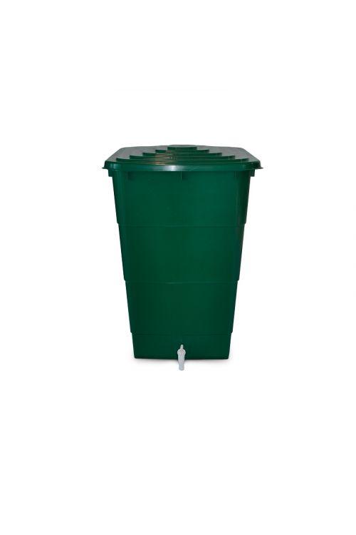 Zbiralnik deževnice 300 l (300 l, s pokrovom in pipo, štirikoten, zelen)