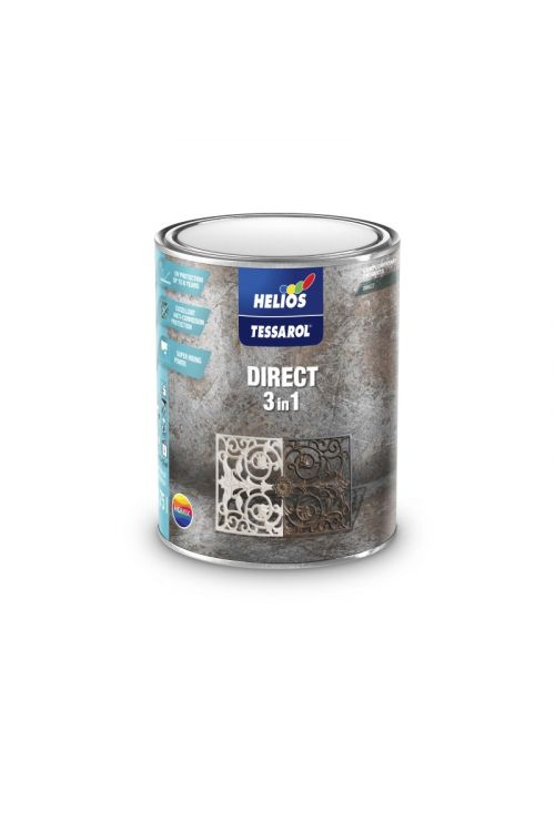 Antikorozijski pokrivni premaz TESSAROL DIRECT 2 črn (750 ml, za dekoracijo in zaščito kovinskih in jeklenih površin)