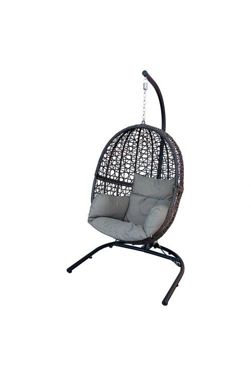 Viseči stol Sunfun (95 x 70 x 130/195 cm, jeklo in tekstil, siva)