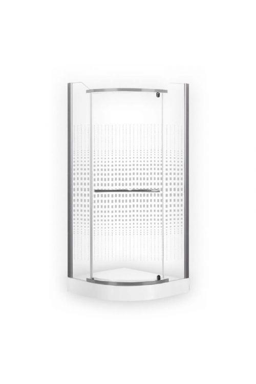 Polkrožna tuš kabina Penza (80 x 80 x 195 cm, srebrni profili, steklo: 6 mm)