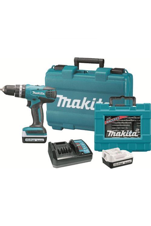 Akumulatorski vibracijski vrtalnik Makita HP347BAKC (14,4 V, 2 x Li-Ion baterija 1.3 Ah, 0–1.400 vrt./min, 34-delni set nastavkov)