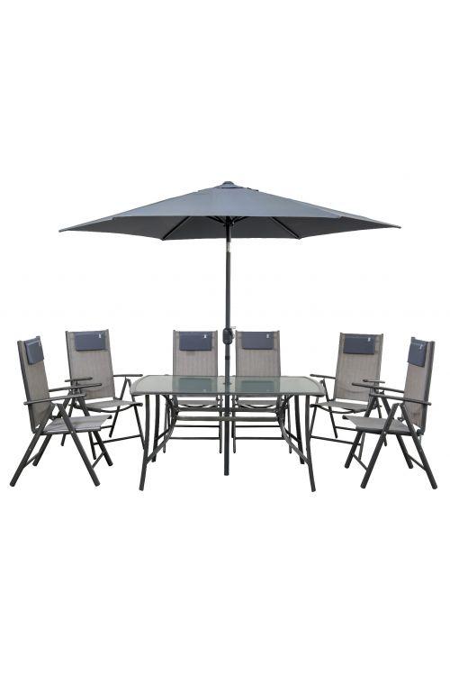Vrtni set Siesta (6x stol d 63 x š 57 x v 109, miza s stekleno ploščo d 142 x š 90 x v 71 cm, senčnik Ø 240 cm, jekleno ogrodje, brez blazin)