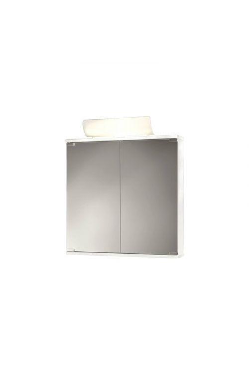 Omarica z ogledalom (60 x 74 x 14 cm, bela, sijaj, z osvetlitvijo)