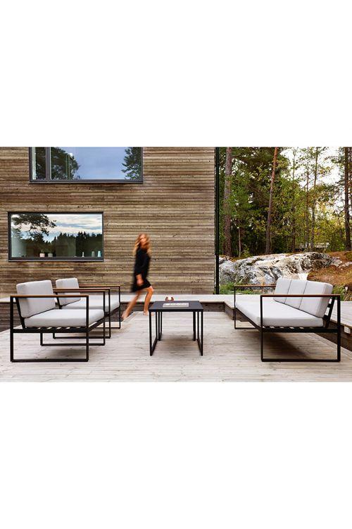 Lounge vrtna garnitura SENSUM Hasseludden (trosed d 188 x š 80 x v 67 cm, 2 naslanjača d 76 x š 80 x v 67 cm, mizica d 50 x š 50 x v 43 cm, miza d 90 x š 60 x v 50 cm, prašno barvano jekleno ogrodje črne barve, z blazinami)