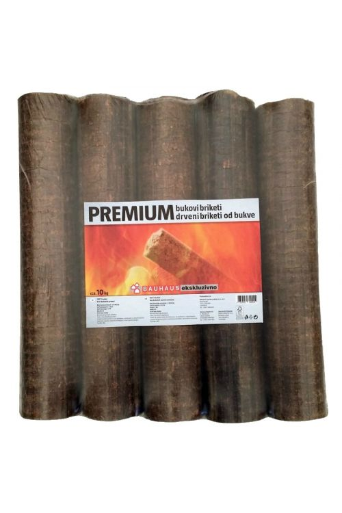Lesni briketi PREMIUM Bauhaus v PVC foliji, 10 kg (100 % bukev, 33 cm)