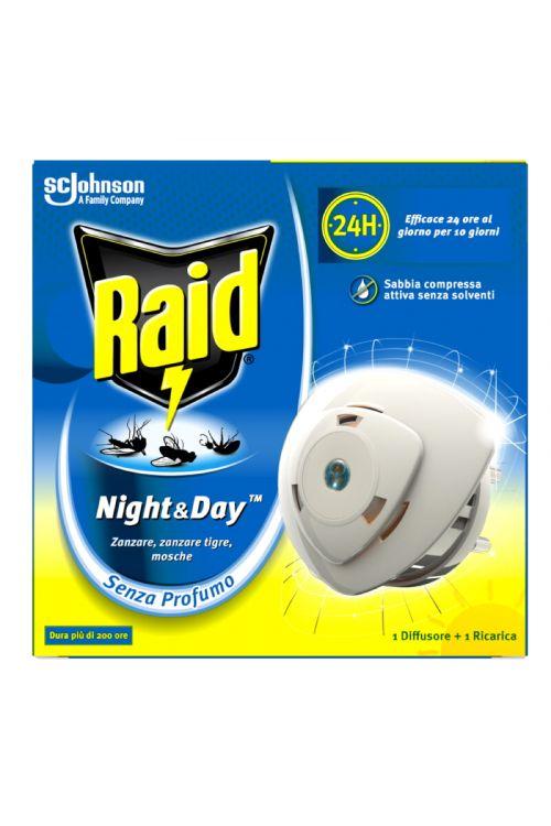 Električni aparat in polnilo Raid Night&Day (proti navadnim in tigrastim komarjem ter muham, brez vonja)