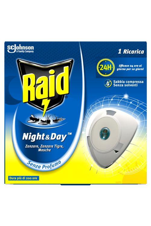 Polnilo za električni aparat Raid Night&Day (1 kos, proti navadnim in tigrastim komarjem ter muham, brez vonja)