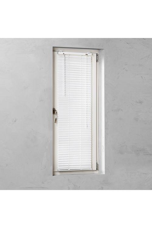 Alu žaluzija BASIC (60 x 130 cm, 25 mm, notranja uporaba, pritrditev brez vrtanja z montažnim nosilcem, bela)