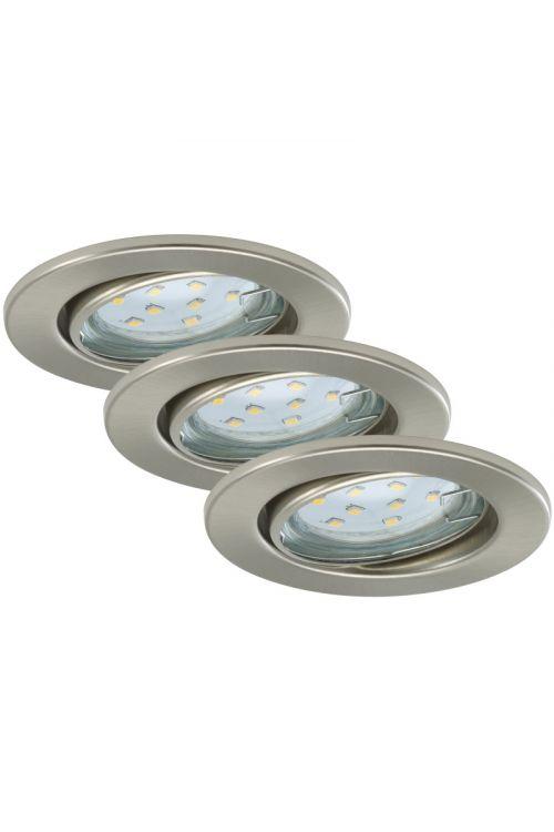 SET LED VGRADNIH REFLEKTORJEV  (3 x 3 W, GU10, 3 x 250 lm, 3.000 K, premer 8,6 cm, višina 7 cm, kovina, nikelj, mat, 3 kosi)