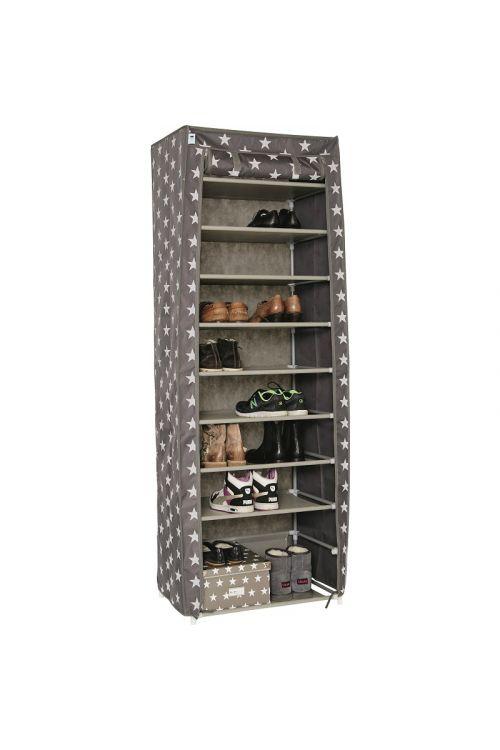 Platnena omara za čevlje (175 x 60 x 40 cm, poliester, barva: sivo - bela)