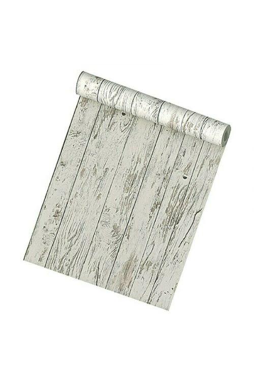 Tapeta iz netkane tekstilije My Look Les (belo-siva, videz lesa, 10,05 x 0,53 m)