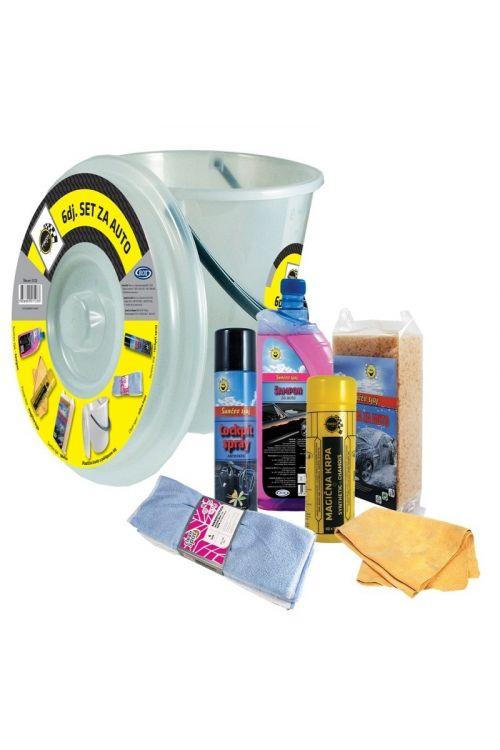 Set za pranje vozila (avtošampon, čarobna krpa, goba, krpa iz mikrovlaken in sprej za armaturo)