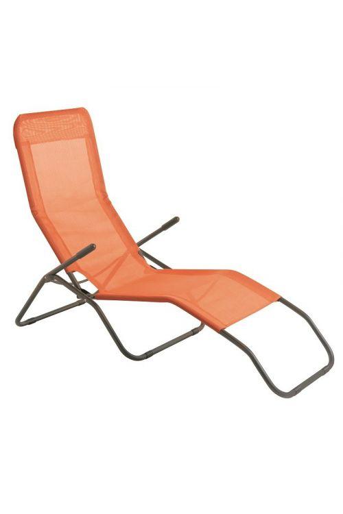 Ležalnik Sunfun Marissa (d 137 x š 63 x v 103 cm, aluminijasto ogrodje, tekstilen, oranžne barve)