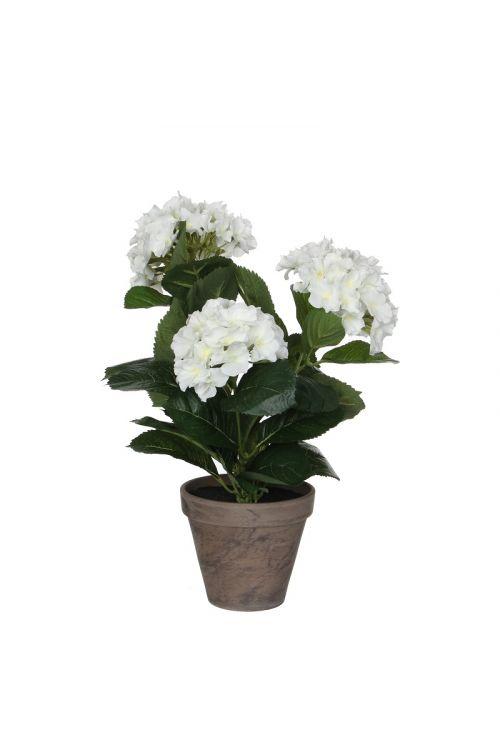 Umetna hortenzija v loncu (40 cm, bela)