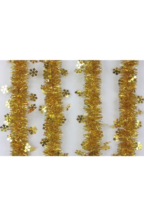 Zlata girlanda s snežinkami (2 m, premer: 6-12 cm)